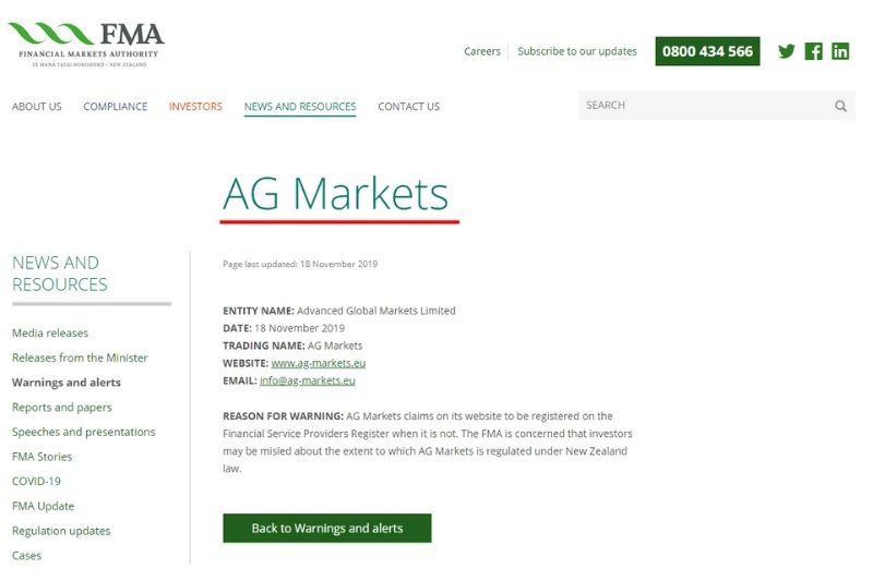 AG Markets FMA Warning