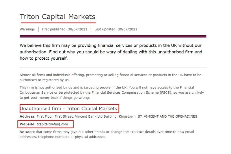 Triton Capital Markets FCA Warning