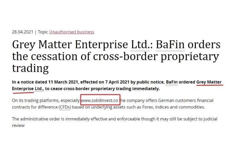 BaFin SolidInvest Warning