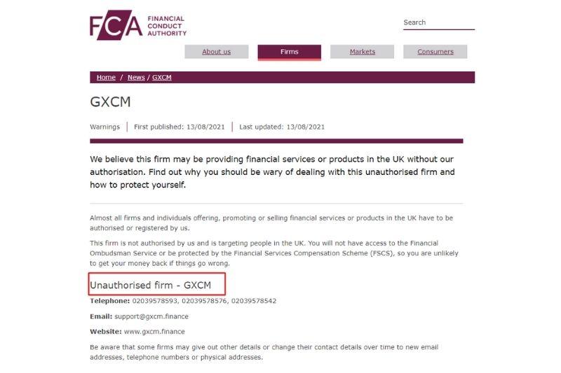 FCA Blacklisted GXCM