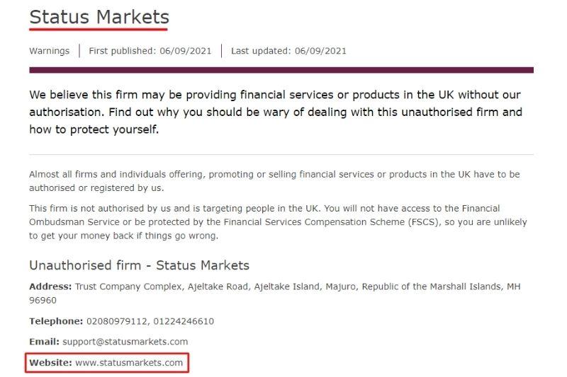 Status Markets FCA Warning